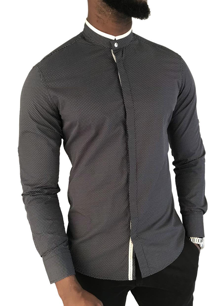 Chemise Habille Col Offici Pour Homme 100 Coton Collection Fantasia T Shirt Pria Second Flash Hitam Coupe Cintre 2990