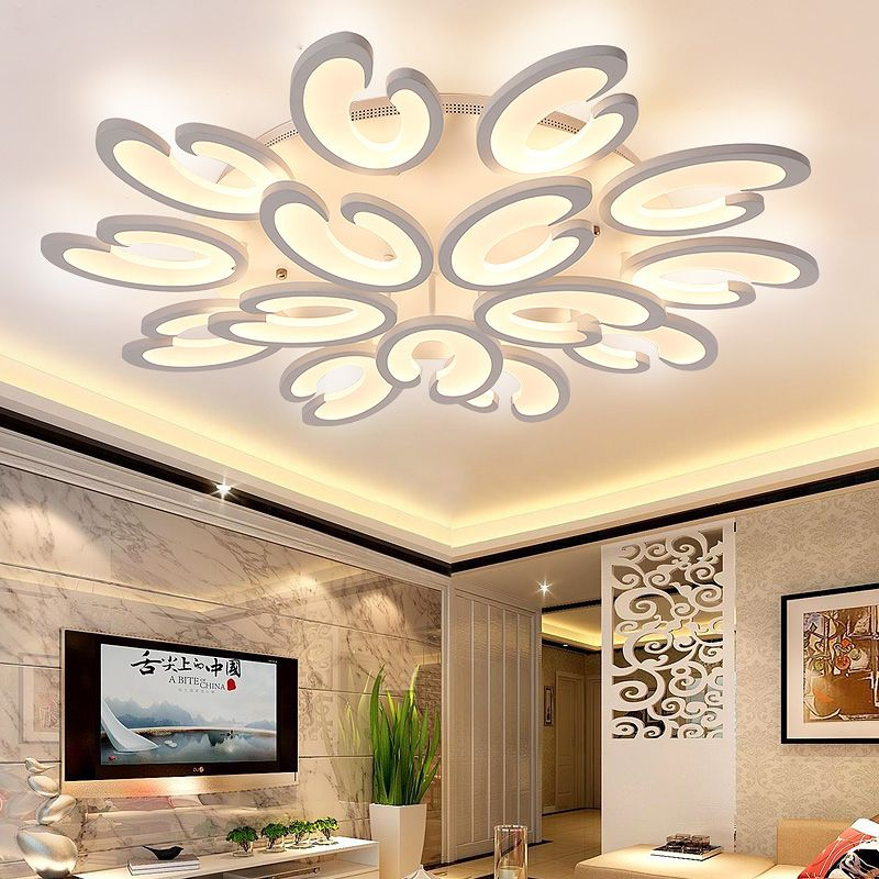 Creative White Acrylic 3 6 9 12 15 Heads Diy Led Ceiling Lights For Living Room Bedroom Lamparas Ceiling Design False Ceiling Design False Ceiling Living Room
