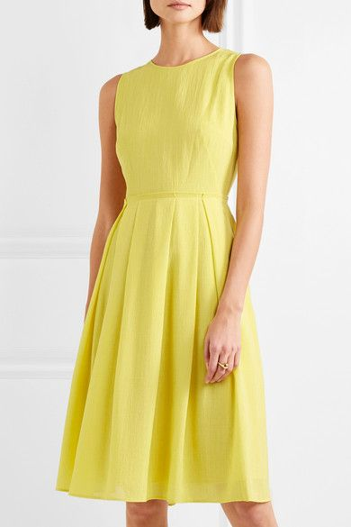 Pleated Voile Dress - Yellow Cefinn Buy Cheap Amazon Store Online ZZwol