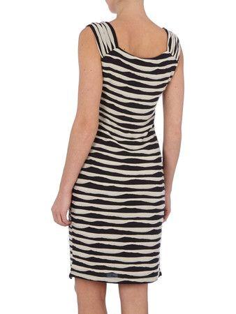 COMMA Kleid mit strukturiertem Streifenmuster in Grau ...