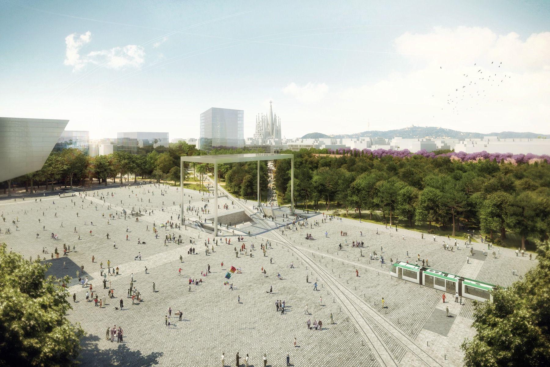 Plaça De Les Glòries Catalanes Architecture Rendering Landscape Architecture Landscape