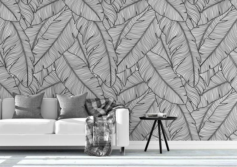 Tropical Removable Wallpaper Banana Leaves Wallpaper Modern Etsy Leaf Wallpaper Banana Leaf Wallpaper Modern Wallpaper