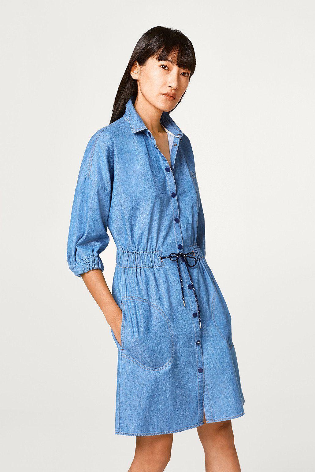 ESPRIT Tailliertes Jeanskleid aus Baumwolle Jetzt bestellen unter   https   mode.ladendirekt.de damen bekleidung kleider  jeanskleider  uid 41a0f0f3-… e4096ad619