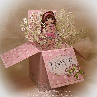 I Brake For Stamps: I Brake For Loveable Avie & Pop up box cards...Dogwood Blossom and Wrap Love handmade card.