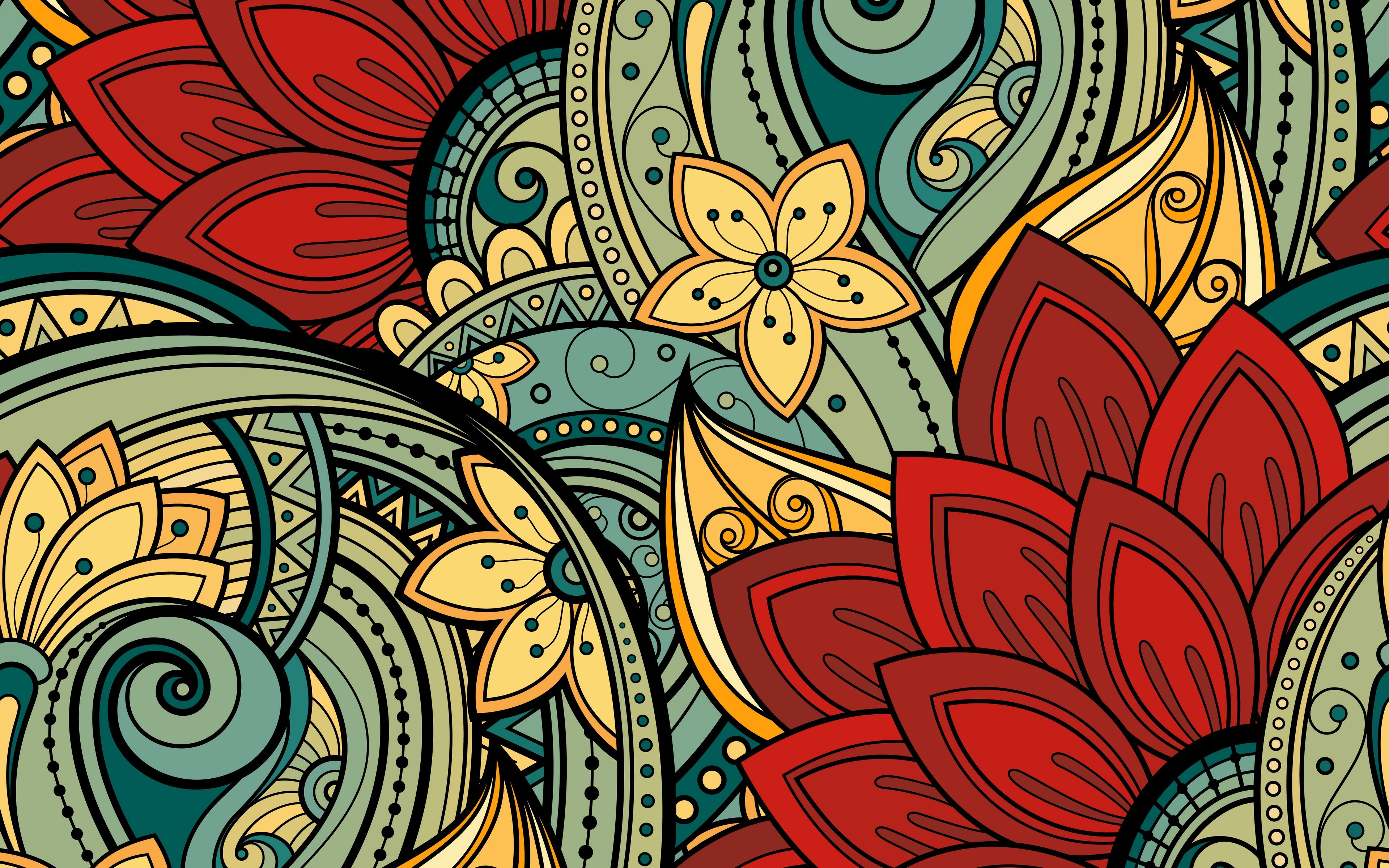 Download Wallpaper 3840x2400 Patterns Flowers Ornament Vector Leaves Colorful 4k Ultra Hd 16 10 Hd Abstract Art Wallpaper Art Wallpaper Abstract Wallpaper