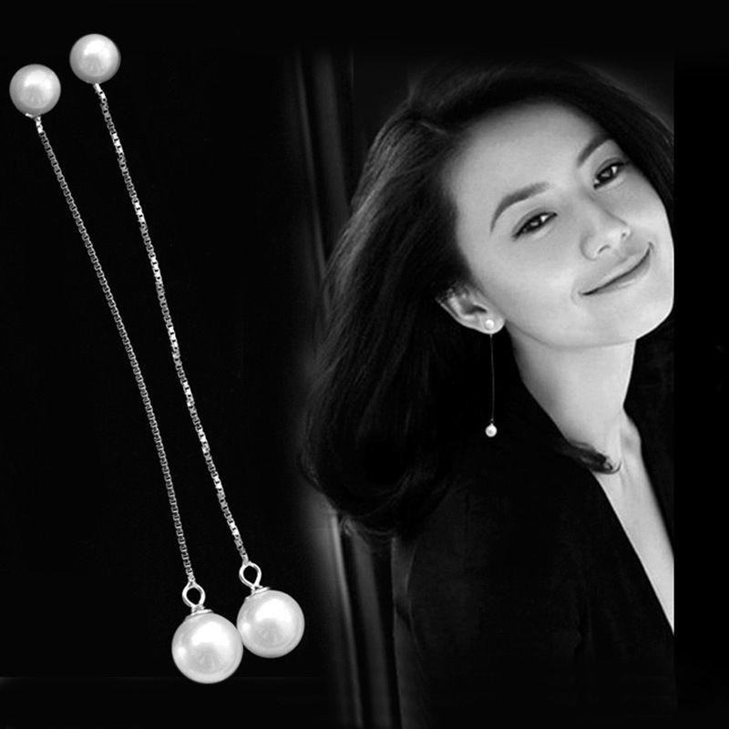 Placcato argento di Alta qualità imitazione orecchini di perle a due Miss Dai bella gioielli moda all'ingrosso della fabbrica 6 + 8 MM