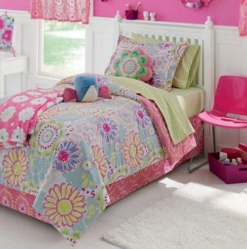 Pink Blue Amp Green Pastel Flowers Girls Full Comforter Set