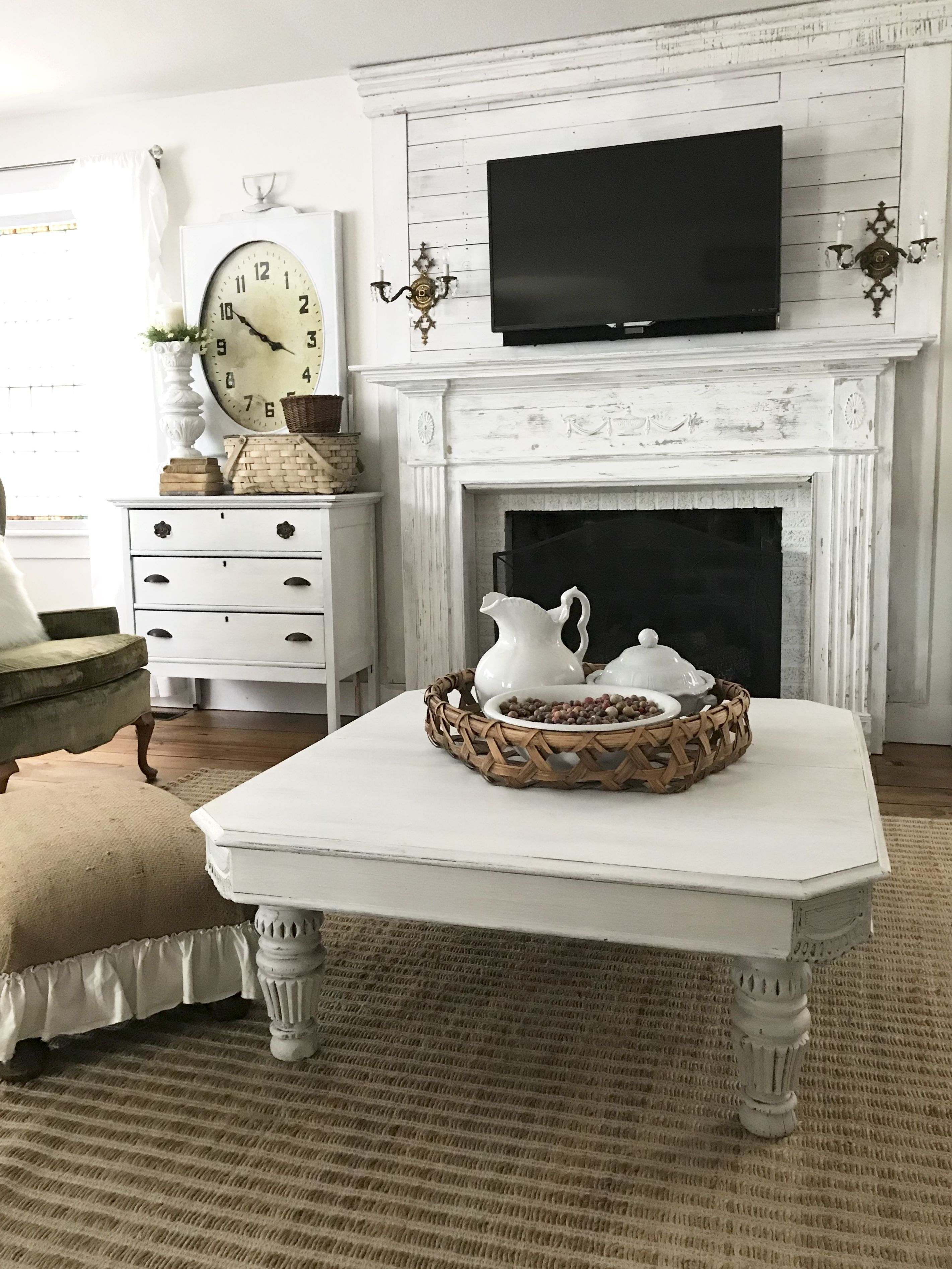 New coffee table in family room house on winchester farmhouse