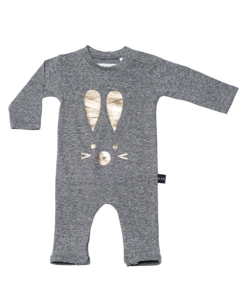 Huxbaby Bunny Long Sleeve Romper | Charcoal