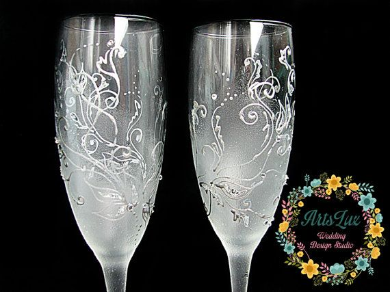 Frosty Wedding Champagne Glasses Hand Painted Silver Wedding