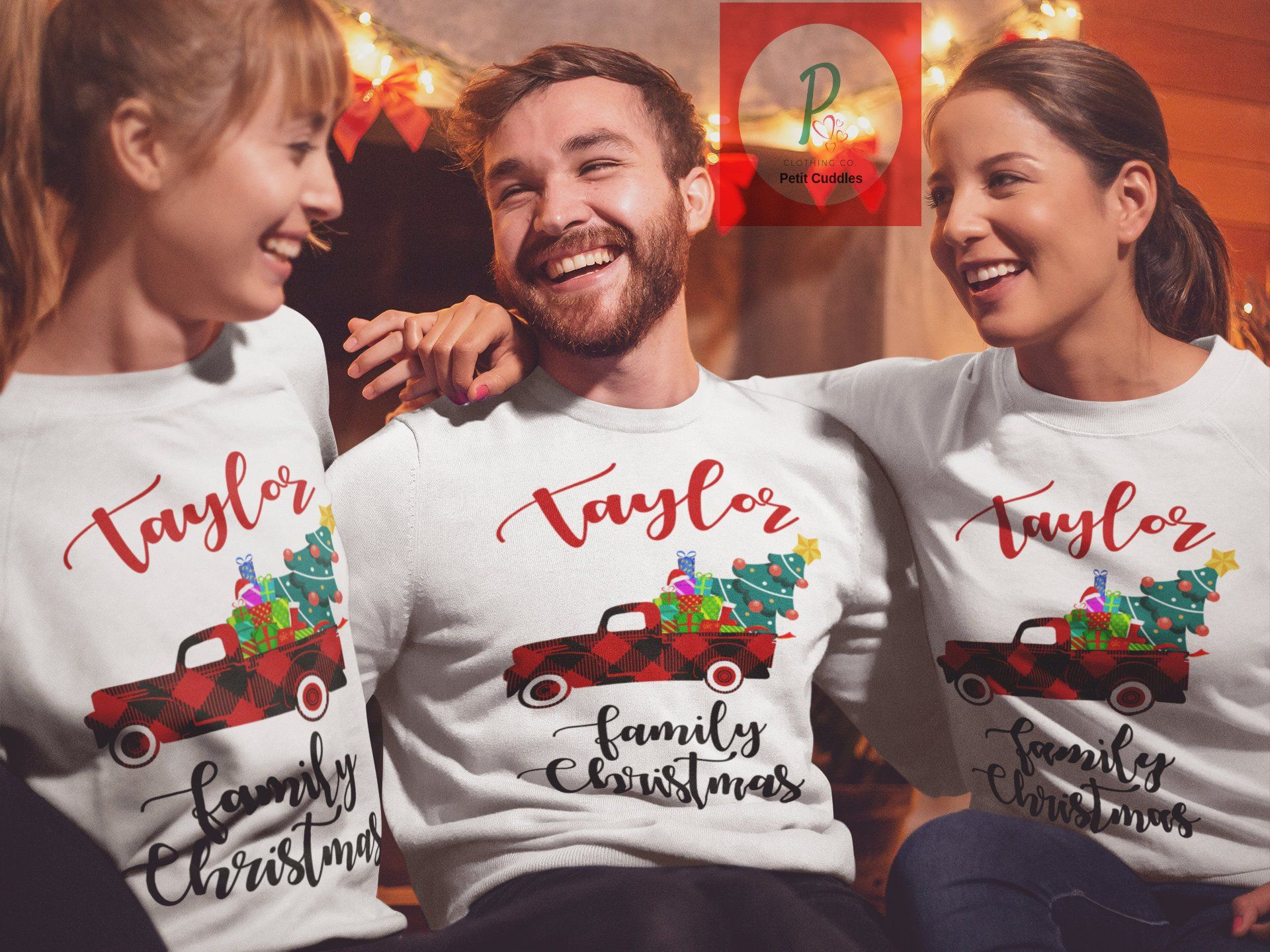 814d02da49 Old Christmas family pajamas matching personalized red truck custom holiday  shirts buffalo plaid vintage family name