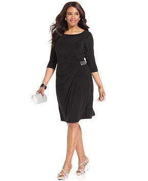 Jones New York Plus Size Dress, Three-Quarter-Sleeve Jeweled - Plus ...