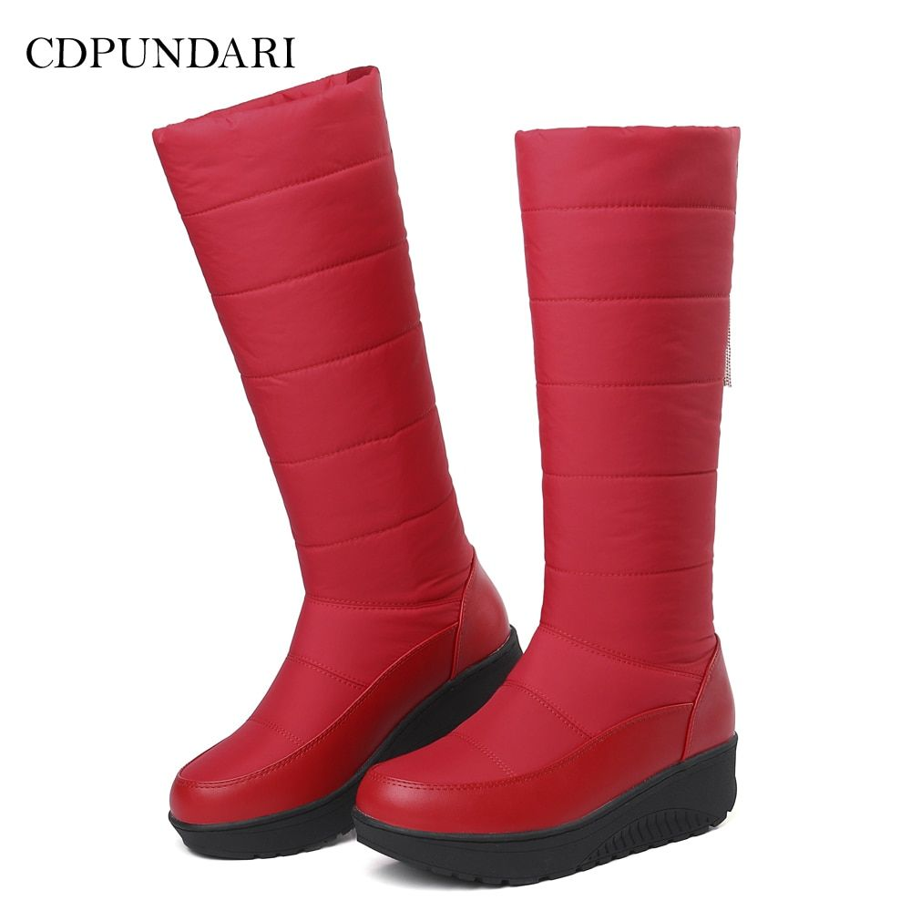 7952427329f8 CDPUNDARI Down Plush Winter Snow Boots Women Calf boots Ladies Flat  platform boots Black Red