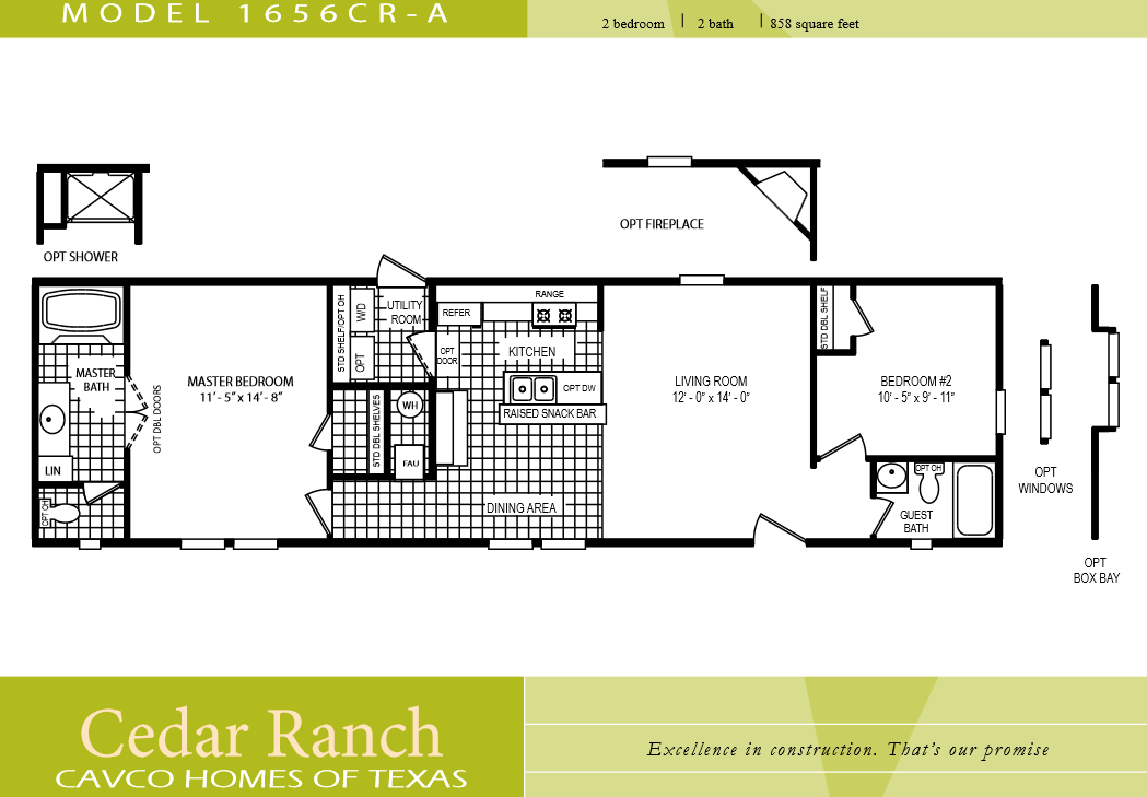 Cavco homes floor plan 1656cr a 2 bedroom 1 bath single for 2 bedroom mobile home floor plans
