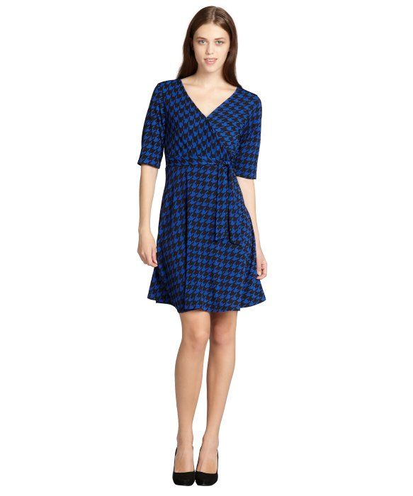 SD Collection : cobalt and black houndstooth faux wrap flare dress : style # 325460401