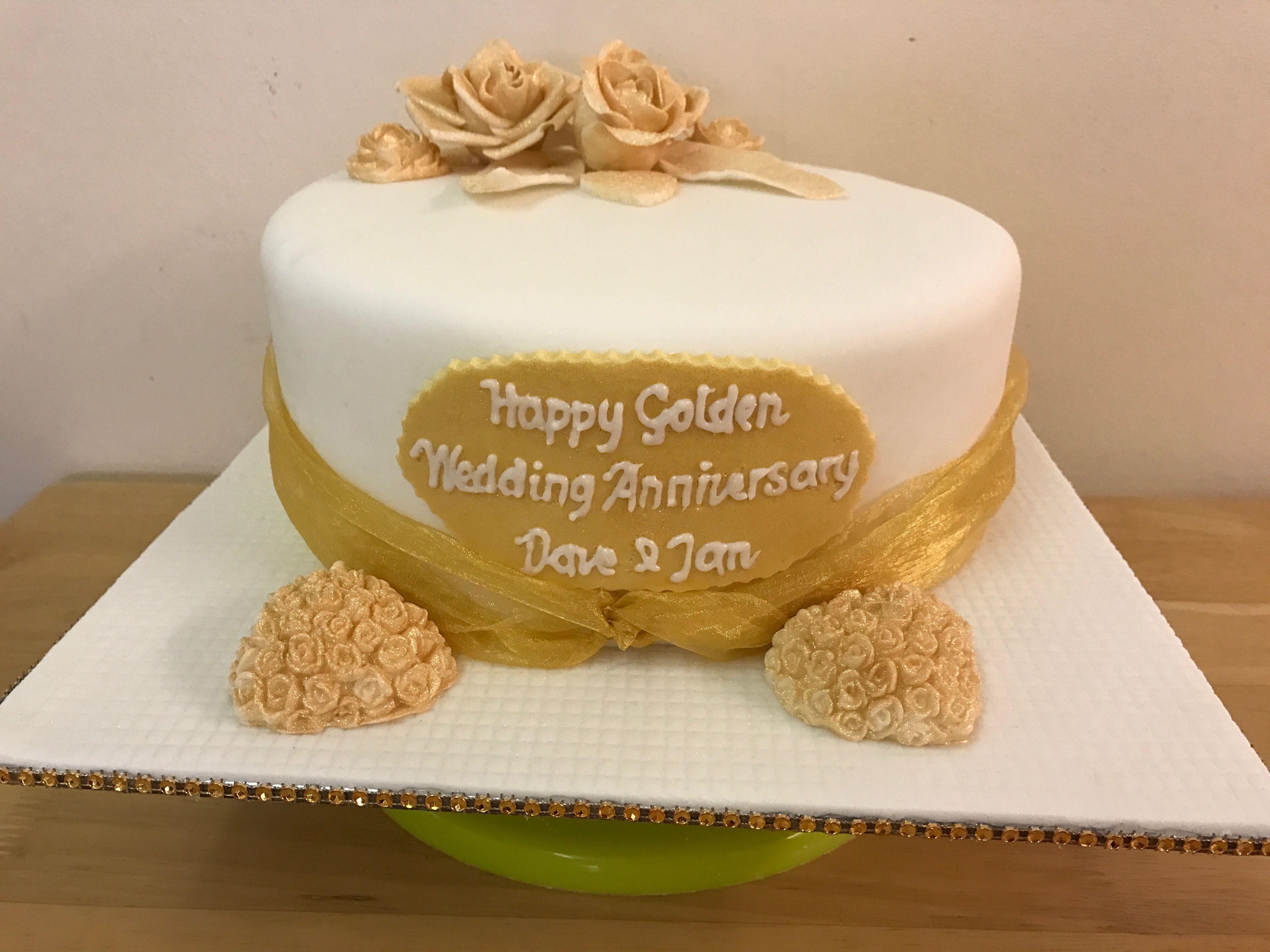 Golden wedding anniversary cake with gold sugarpaste gumpaste