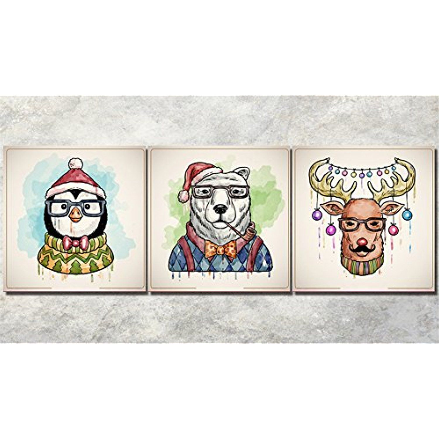 Lb Christmas Themed 3 Piece Unframed Canvas Print Wall Art Stretched And Framed Fun Animals In Christ Canvas Print Wall Artwork Prints Artwork For Living Room