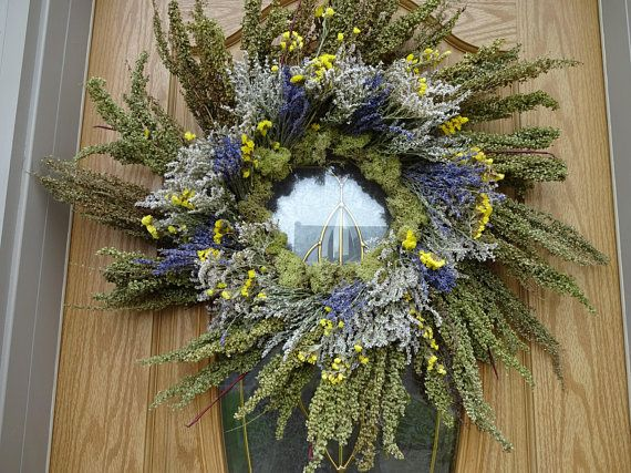 Photo of Large Wreathh Dried Wreath  Lavender Wreath  Natural Wreath Spring and Summer Wreath  Wall Decoration  Wreath  Door Wreath  Indoor Wreath