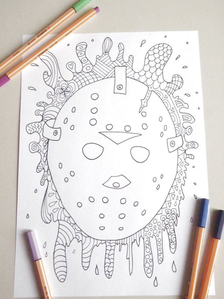 friday the 13 colouring halloween Jason Voorhees horror