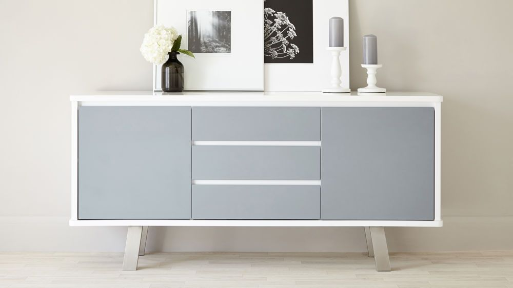 Assi White And Grey Gloss Sideboard White Sideboard Modern