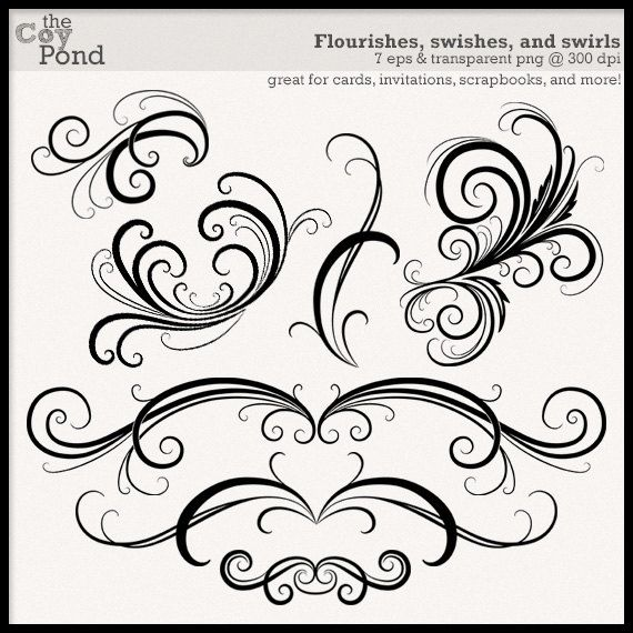 instant download flourish and swirl clip art clipart flourish rh pinterest co uk Swirl Clip Art Transparent Background Swirl Heart Clip Art