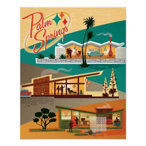 Mid Century Modern Palm Springs California Poster