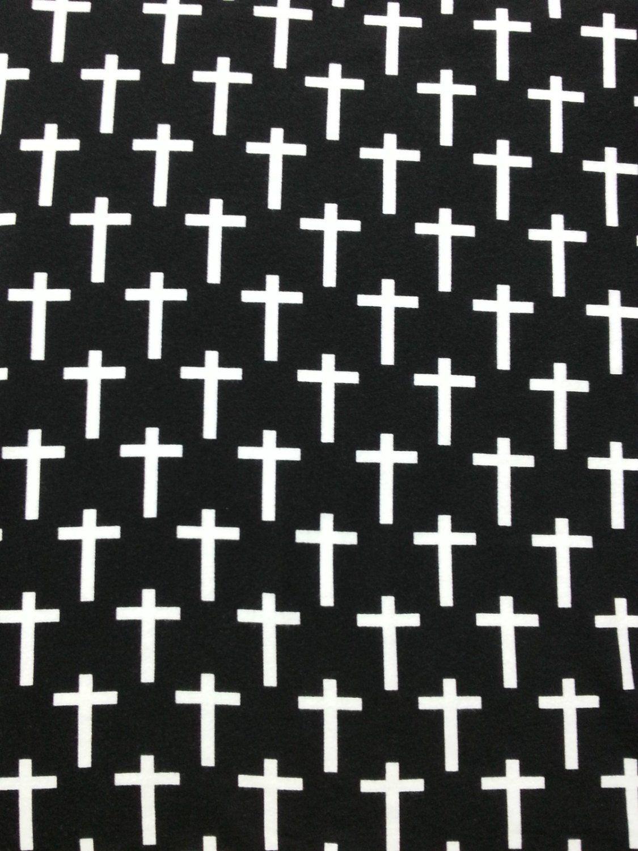 593d70bb2c5 Pima Cotton Spandex / Lycra Jersey Knit Print Fabric White Cross on Black  Fabric by the Yard