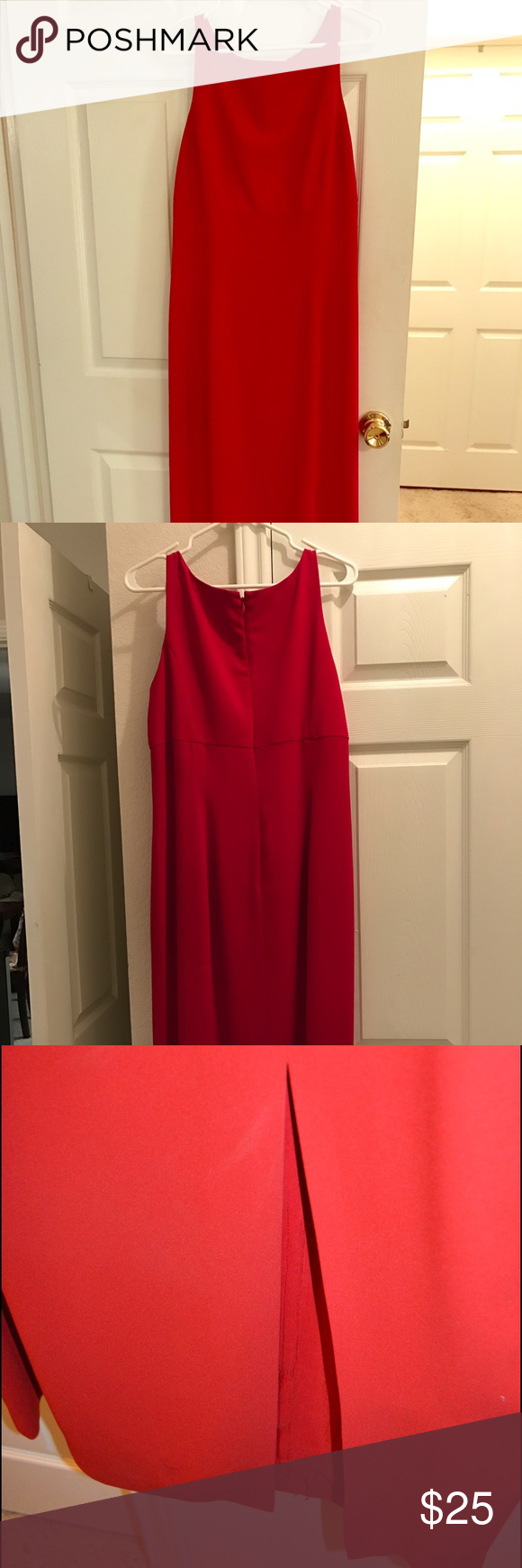 Red long gown simple elegant thin strap red dress with inch slit