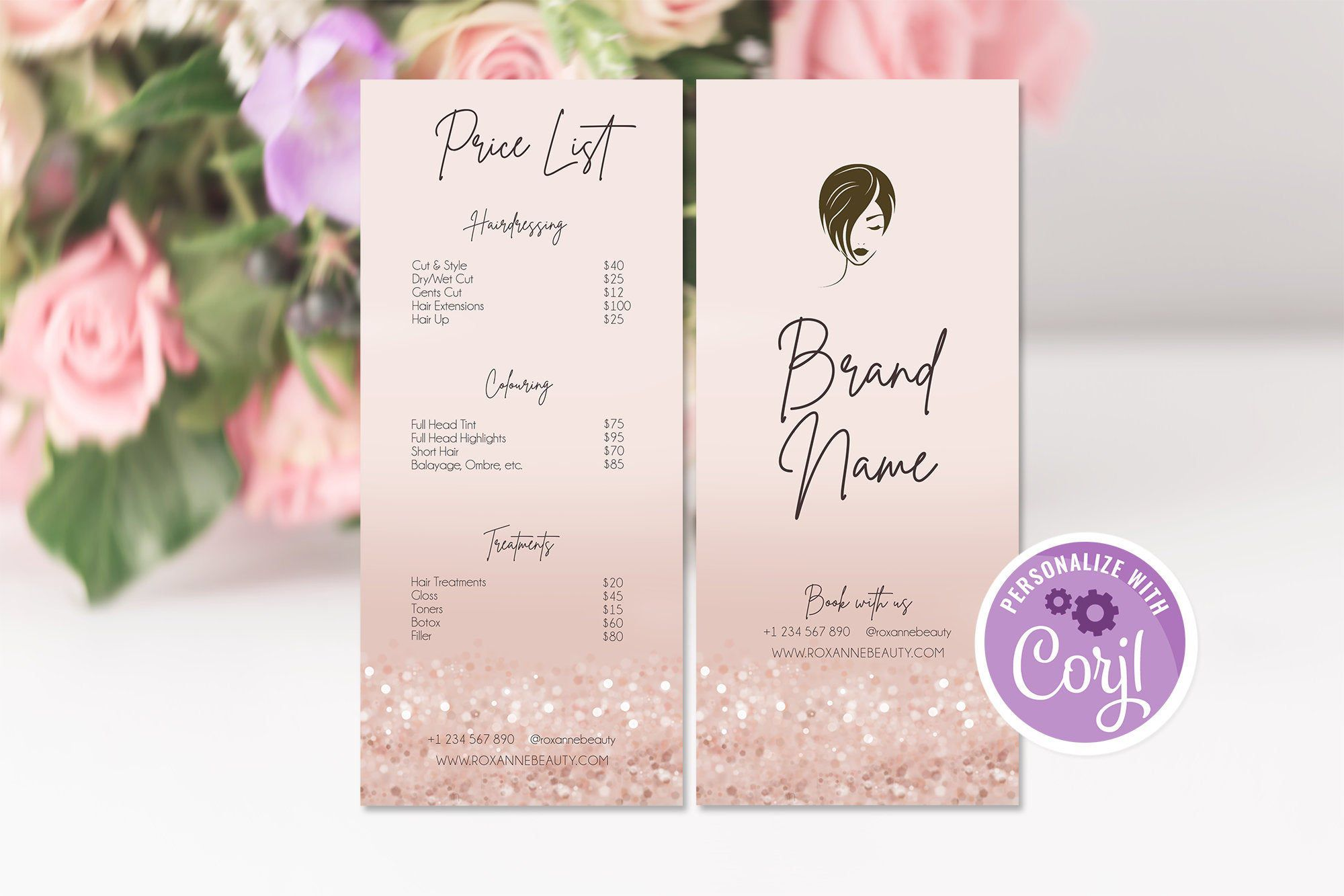 Editable Rose Gold Price List, Business Price List