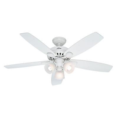 Hunter Highbury 52 in. Indoor White Ceiling Fan with Light ...