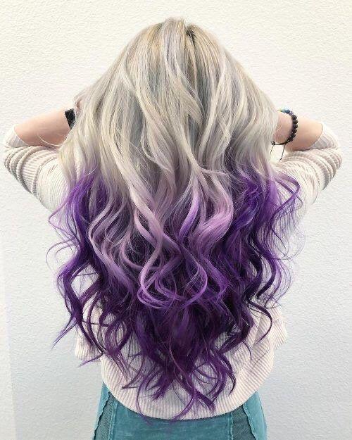 "22"" White Blonde & purple ombré body wavy lace fro"
