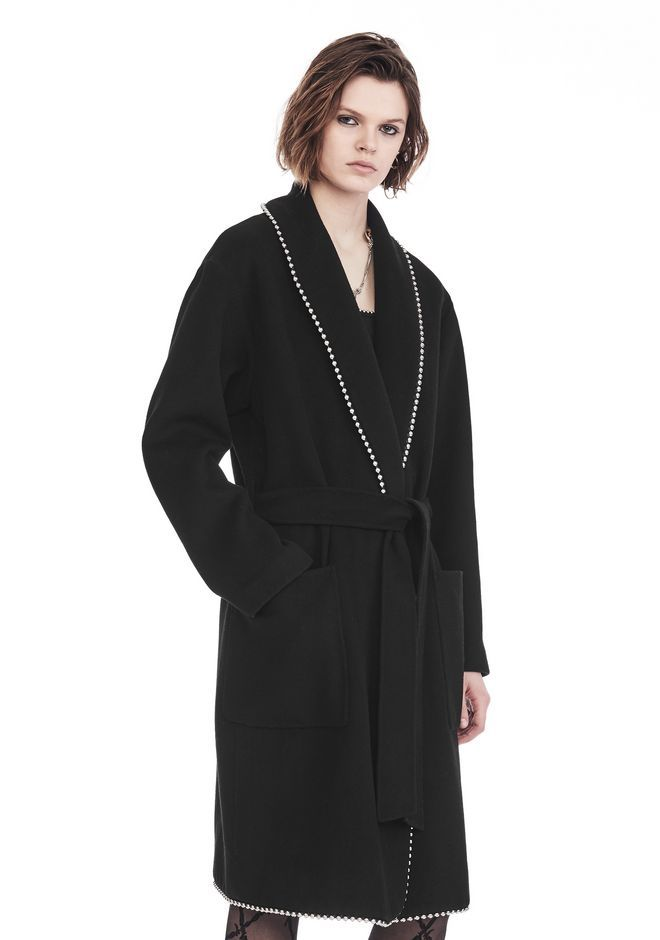 ALEXANDER WANG BATHROBE COAT WITH BALL CHAIN TRIM JACKETS AND OUTERWEAR  Adult 12_n_a