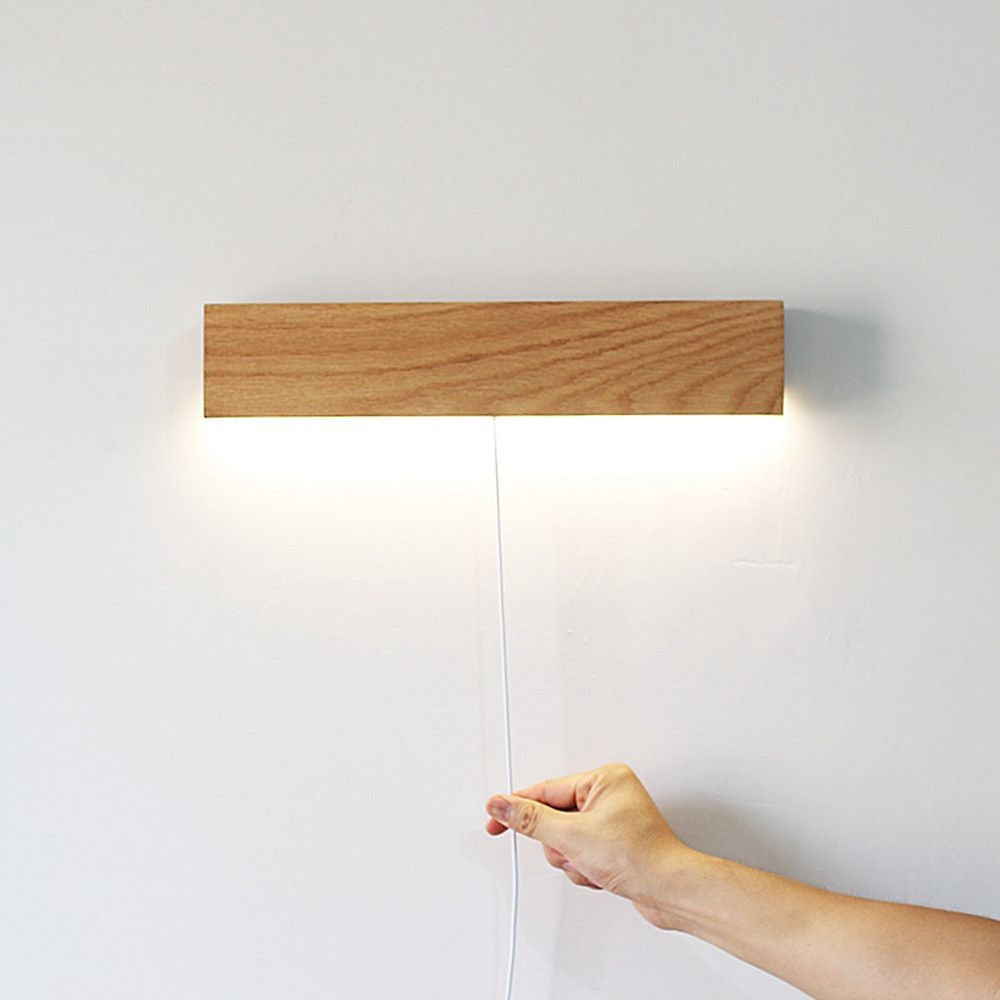 Solid wood led wall lamp with cable red oak color red and wax