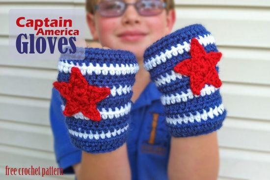 Captain America Gloves - Free Crochet Pattern