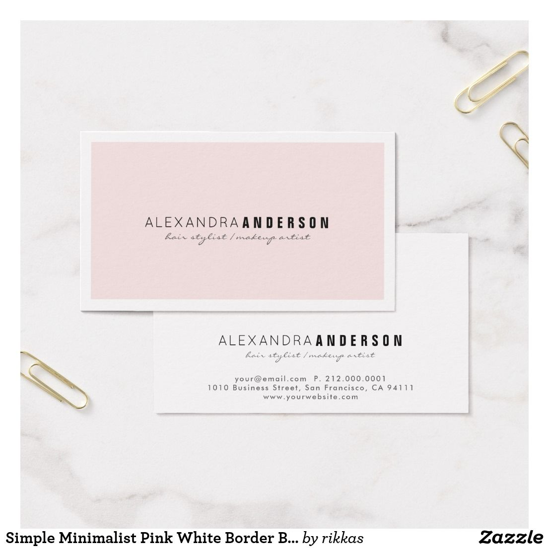 Simple Minimalist Pink White Border Business Card Zazzle Com Pink Business Card Simple Business Cards Business Card Design