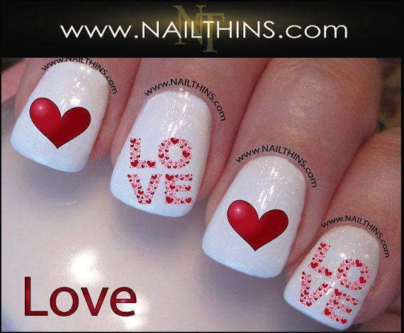 LOVE Nail Decal Valentine Nail Design NAILTHINS by NAILTHINS, $4.00