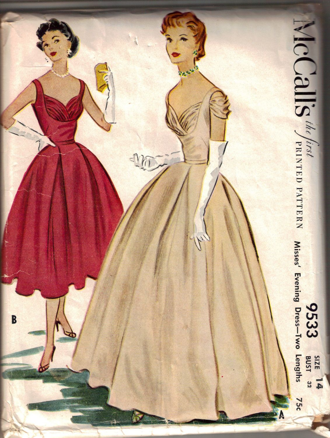 Vintage 1953 McCalls Ball Gown Dress Pattern | Bust Shelf, Shirred ...