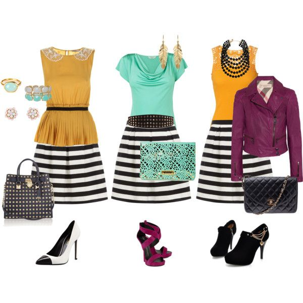 """""""Striped skirt - Mix 'n Match"""" by wennyson on Polyvore"""