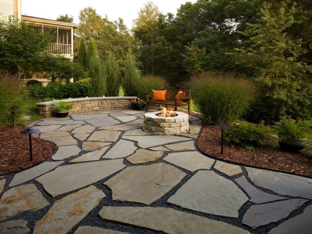 Elegant Flagstone Patio With | And Patio Design, Flagstone Patio With Fire Pit  Designs Round Patio