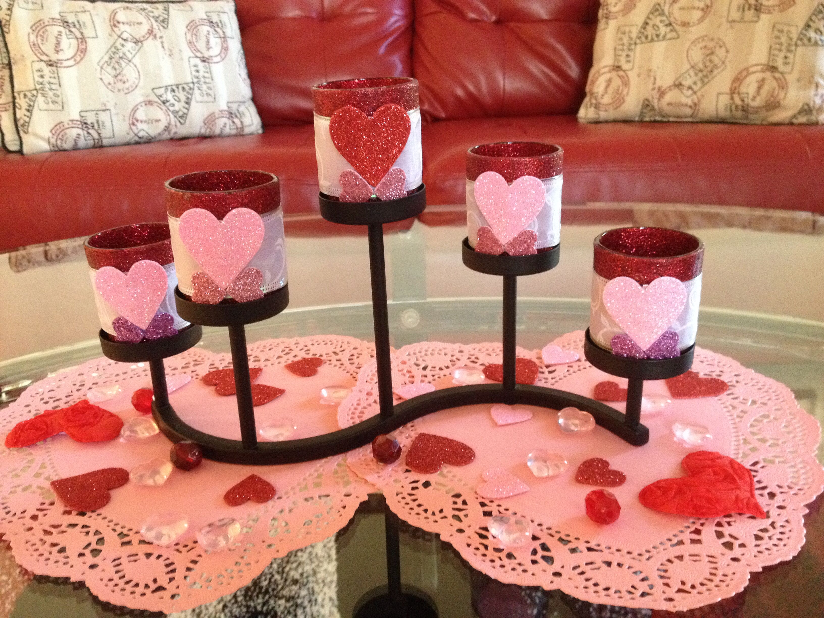 Easy to make... Glitter, mod podge, ribbon, table scatter and hot glue.