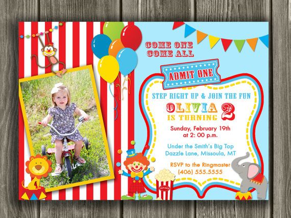 Circus Birthday Invitation FREE thank you by DazzleExpressions 1st - best of invitation for 1st birthday party free