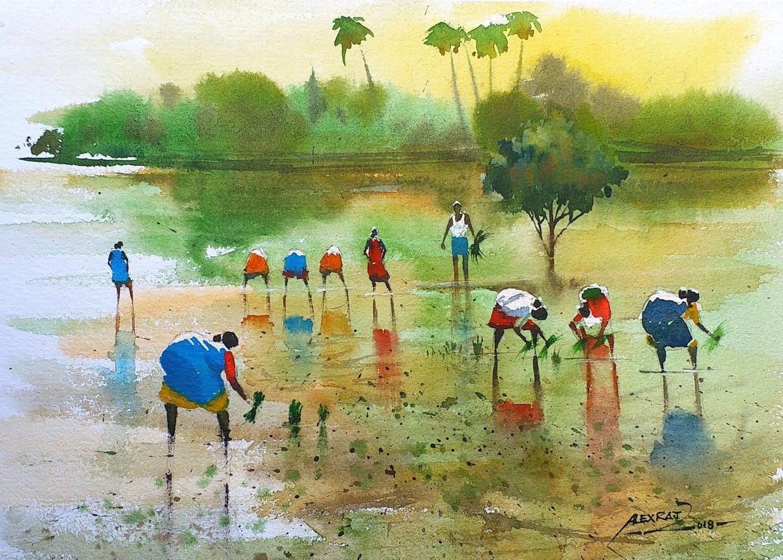 Alexraj Watercolour Painting Artists Pondicherry India