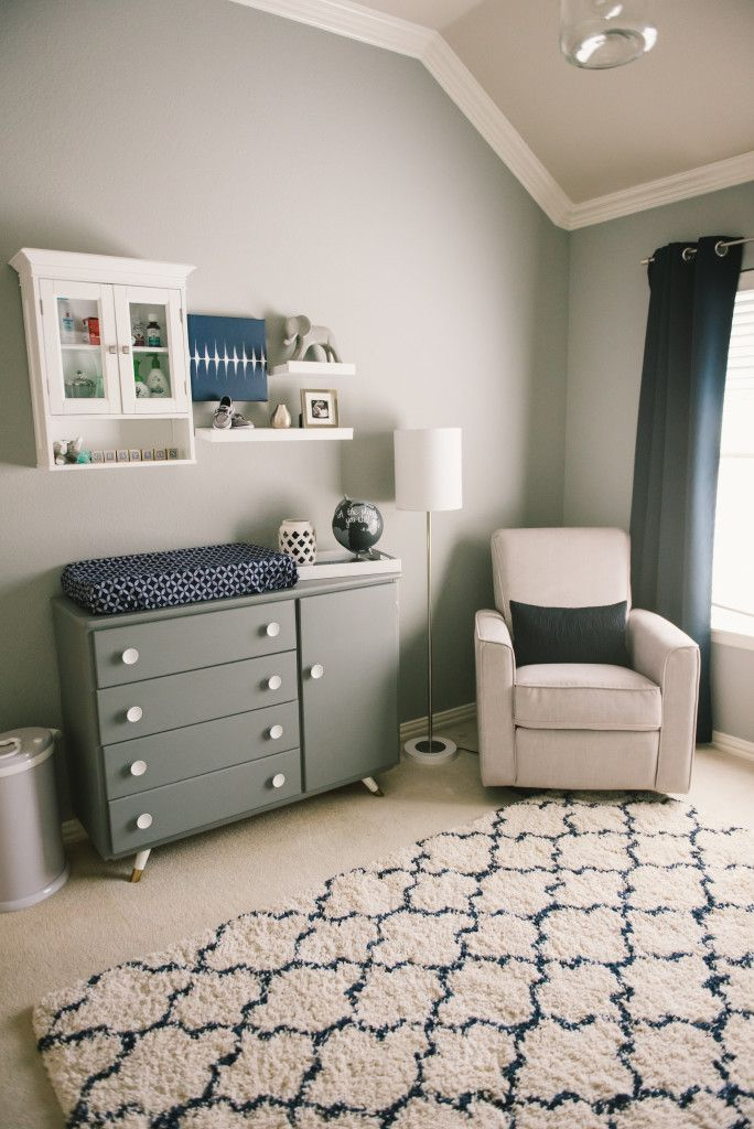 Gray Baby Boy Room Ideas: Grayson's Modern Grey, Navy And White Nursery