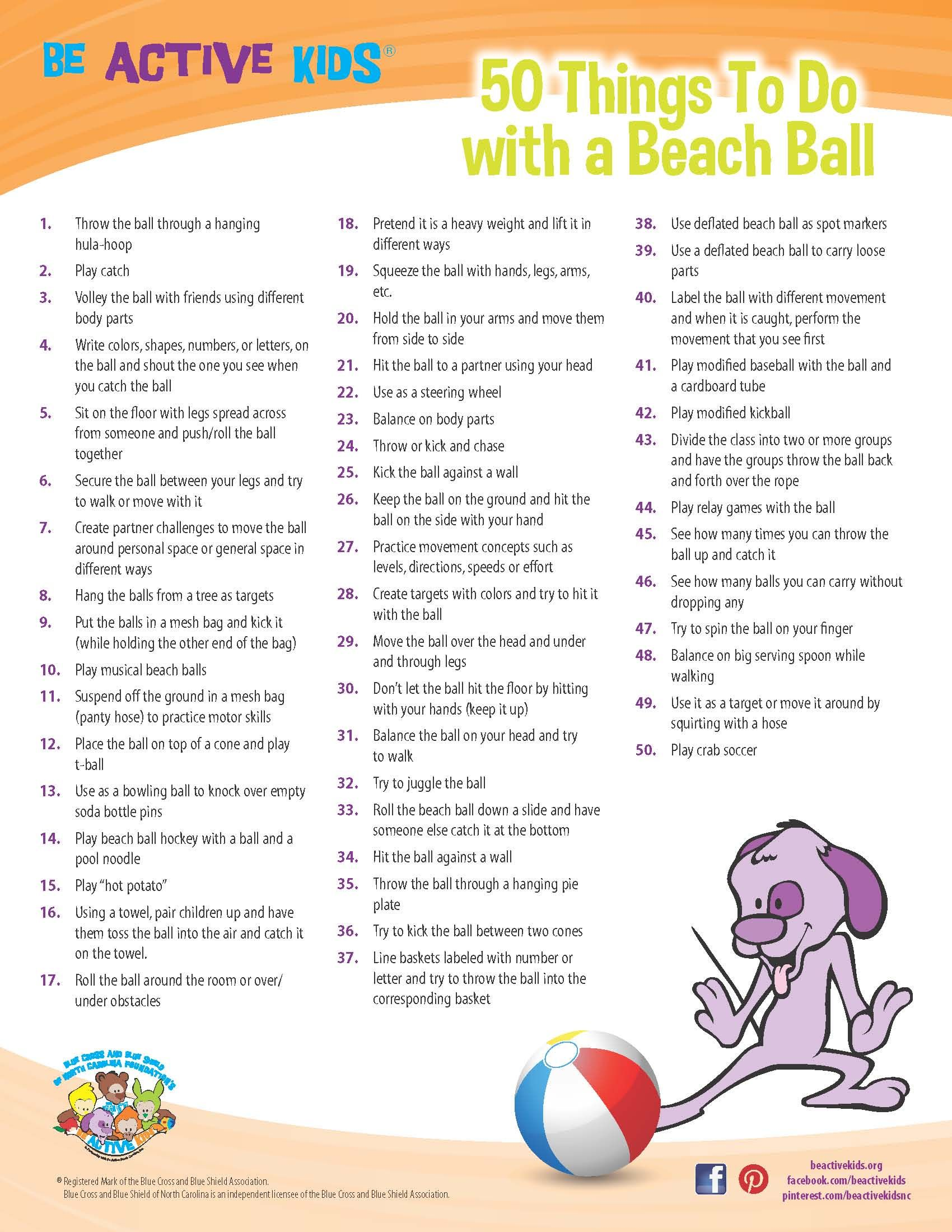 Printable 50 Things To Do With A Beach Ball Physical Activity Ideas