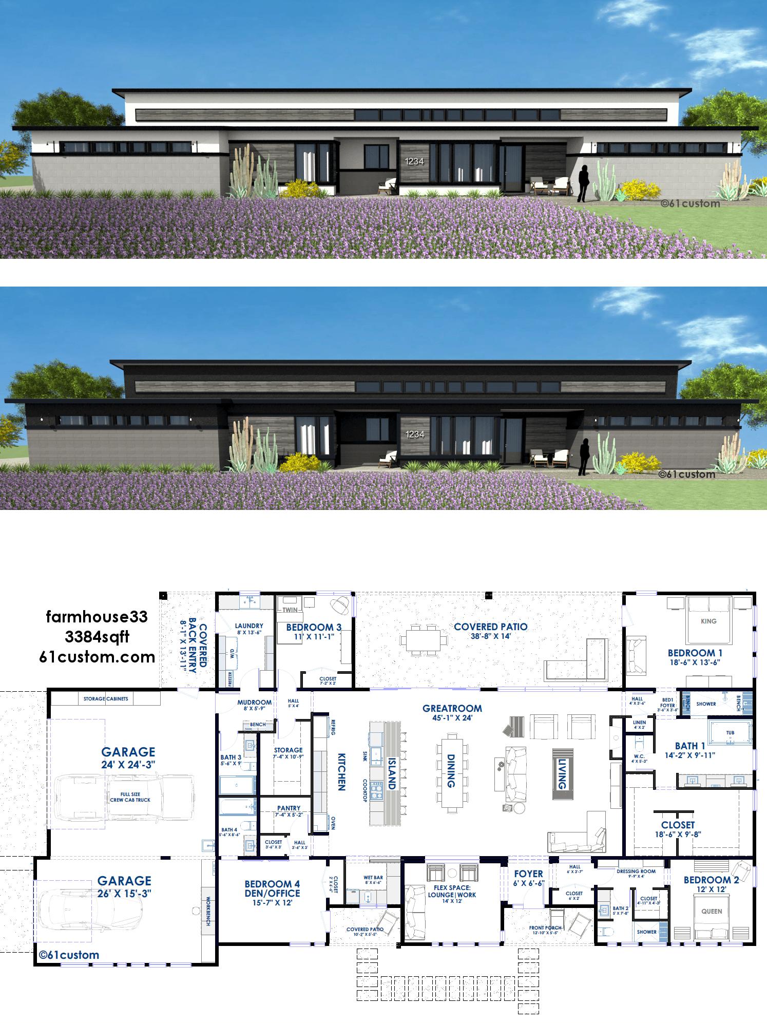 This modern farmhouse plan includes a huge loft-style ...