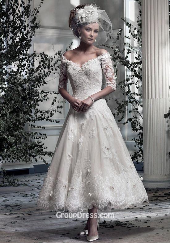 Off The Shoulder Short Lace Sleeved V Neck Tea Length Wedding Dress