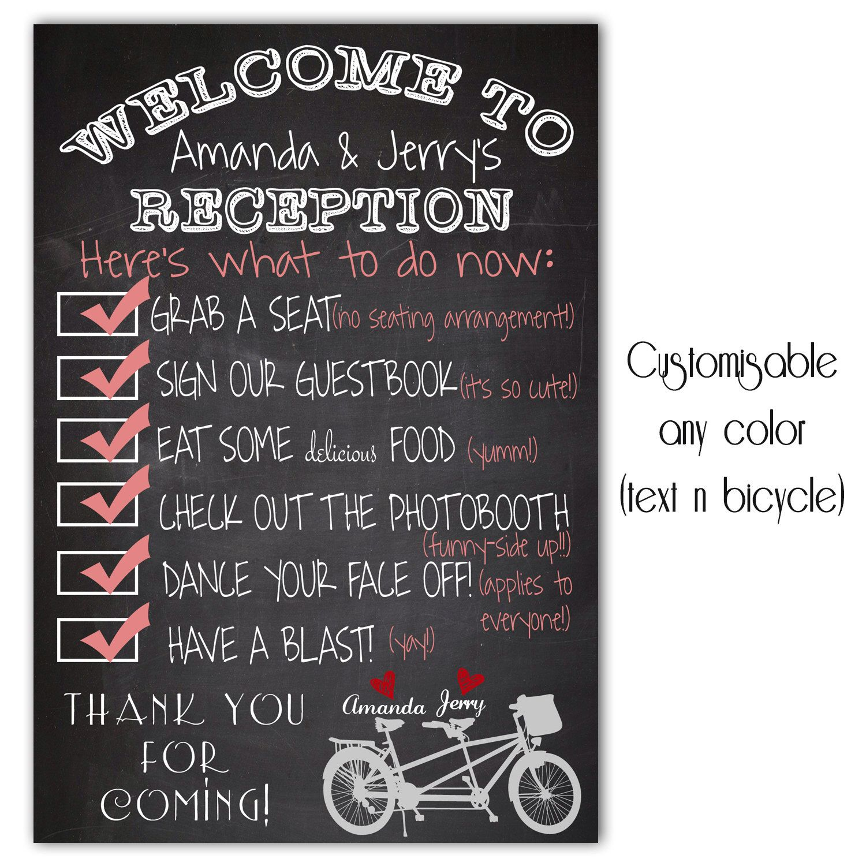 Rustic Chalkboard Wedding Welcome Sign Modern Bicycle Heart Digital Personalized Printable Art