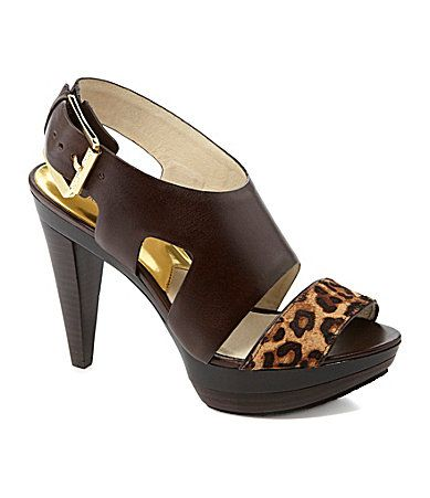 1ed77698bf8c MICHAEL Michael Kors Carla Dress Sandals - Vachetta leather upper with mini  cheetah-print dyed real hair calf (China) toe-strap adjustable strap with  buckle ...