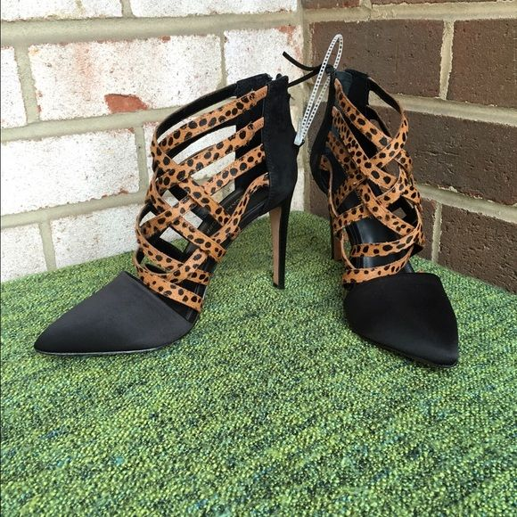 FINAL PRICE Caged Heels With Leopard Calf Hair Beautiful shoe! Never worn. So trendy and sexy :) I am flexible on the price closet rules  no trades  no PayPal  no harassment  offers welcome  bundles welcome  Rebecca Minkoff Shoes Heels