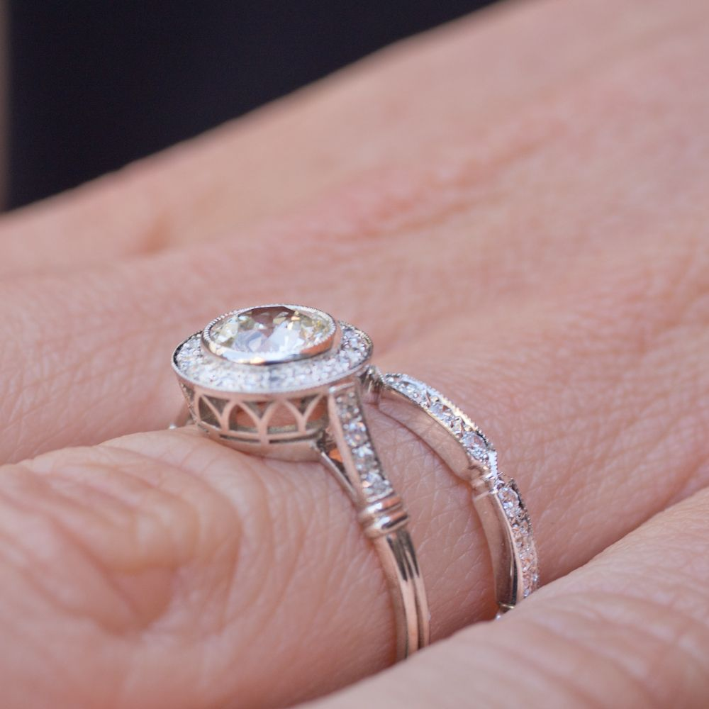 A Single Stone wedding set, Aimee and Carly. Aimee in platinum with ...